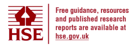 HSE logo. Free guidance, resources and published research reports are available at HSE's main website